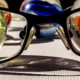 Fun with glasses and marbles by Pierre Tessier - Artistic Objects Clothing & Accessories ( marble fun,  )