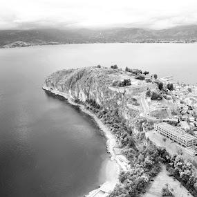 AkroNafplia Nafplio old city by Pantelis Orfanos - Landscapes Travel ( islet, black and white, sea, akronafplia, nafplio, b and w, landscape, b&w, monotone, mono-tone )