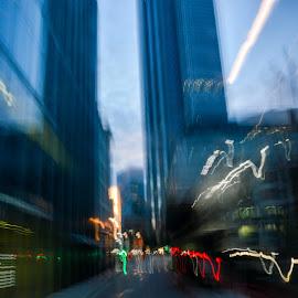 Blurred vision by Gábor Kallós - City,  Street & Park  Street Scenes ( lights, blurred, london, street, blur )