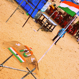 70 but still going strong..INDIA by Ananda Chatterjee - Landscapes Beaches ( national flag, india, patriotism, beach, independence day )