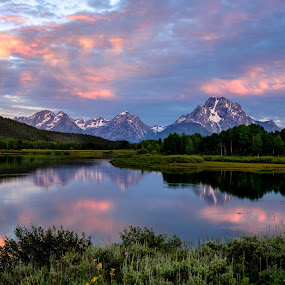 Oxbow Daybreak  by Robert Golub - Landscapes Mountains & Hills
