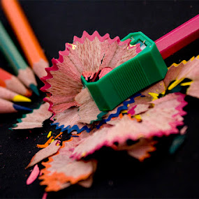 Colorful Still Life by Anurag Bhateja - Artistic Objects Other Objects ( red, blue, green, colors, pink, colored, yellow, sharpener, pencils )