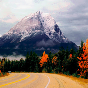 CANADIAN ROCKIES LATE FALL by Gerry Slabaugh - Landscapes Mountains & Hills ( hill, mountain, alberta, canada, highway, autumn, canadian rockies, fall, rockies, jasper, landscape,  )