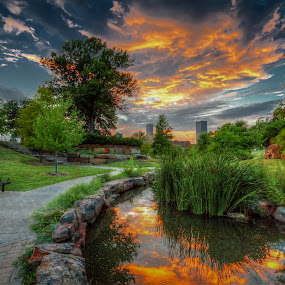 Centennial Park Skyline by Ron Meyers - City,  Street & Park  City Parks
