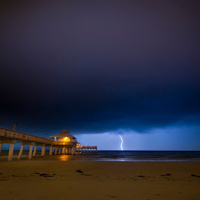 Lightning over Fort Myers Beach, Florida by Jay Kleinrichert - Landscapes Weather ( sand, fort myers, pwcfoulweather, ocean, beach, storm, jkthree, lightning, gulf, weather, pier, night, slow shutter )