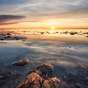 Sundown by Graham Kidd - Landscapes Waterscapes ( water, sunset, reflections, seascape, rocks )