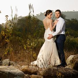 Bride and Groom by Sean Van Tonder - Wedding Bride & Groom ( wedding, outdoors, designer dress, bride, groom )