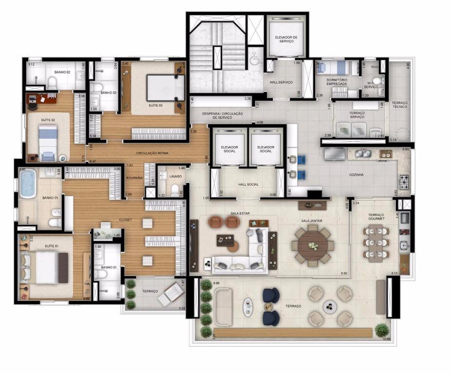 Planta Tipo com Closet Ampliado - 284 m²