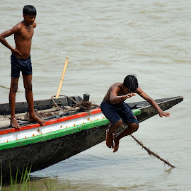 Summer Fun by Subhajit Biswas - Sports & Fitness Swimming ( jumping, fun, boat, boy, swimming, river )
