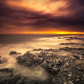 Wind from the South by Katjusa Karlovini - Landscapes Waterscapes ( water, clouds, veli rat, dugi otok, waterscape, sunset, croatia, sea, long exposure, seascape, landscape, nikon )