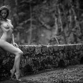 Nude on a stonewalll by Reto Heiz - Nudes & Boudoir Artistic Nude ( sexy, nude, black and white, nudeart, female nude )