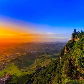 Sunrise San Marino by Fabrizio Contadini - Landscapes Sunsets & Sunrises ( skyline, sky, green, colors, san marino, castle, sunrise, landscape, sun )