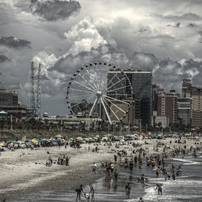 HDR off the pier by Robert Harmon - Landscapes Beaches ( clouds, beaches, sand, hdr, ocean, landscape, people, ferris wheel )