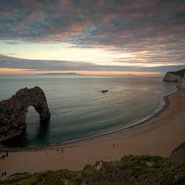 Durdle Door by Charlie Davidson - Landscapes Beaches ( clouds, sand, uk, sunset, sea, ocean, beach, seascape, rocks )