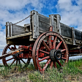 Uncovered by Barbara Brock - Transportation Other ( wagon wheels, old west wagon, cloudy skies, old wagon )