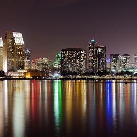 Skyline by Anderson Lindblom - City,  Street & Park  Night ( san diego, reflection, skyline, california, ocean )