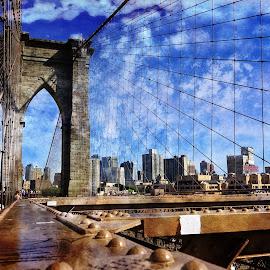 A Bridge to Gotham by Alfonso Bullock - Buildings & Architecture Bridges & Suspended Structures ( clouds, brooklyn bridge, color, vibrant, bridge, brooklyn )