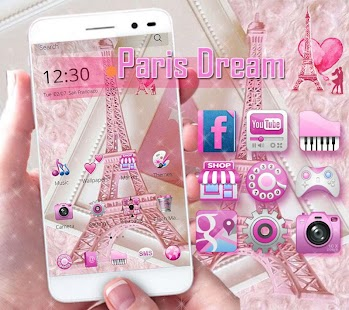 App Pink Theme Eiffel Tower Love APK for Windows Phone