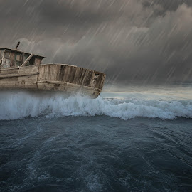 Shipwrecked by Stanciu Mihai - Digital Art Places ( trouble, ship, storm, rain )