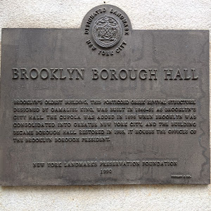 BROOKLYN BOROUGH HALL BROOKLYN'S OLDEST BUILDING, THIS PORTICOED GREEK REVIVAL STRUCTURE DESIGNED BY GAMALIEL KING, WAS BUILT IN 1846-51 AS BROOKLYN'S CITY HALL. THE CUPOLA WAS ADDED IN 1898 WHEN ...