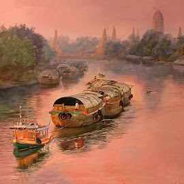 by Bob White - Painting All Painting ( temple, boats, thailand, boat, river )