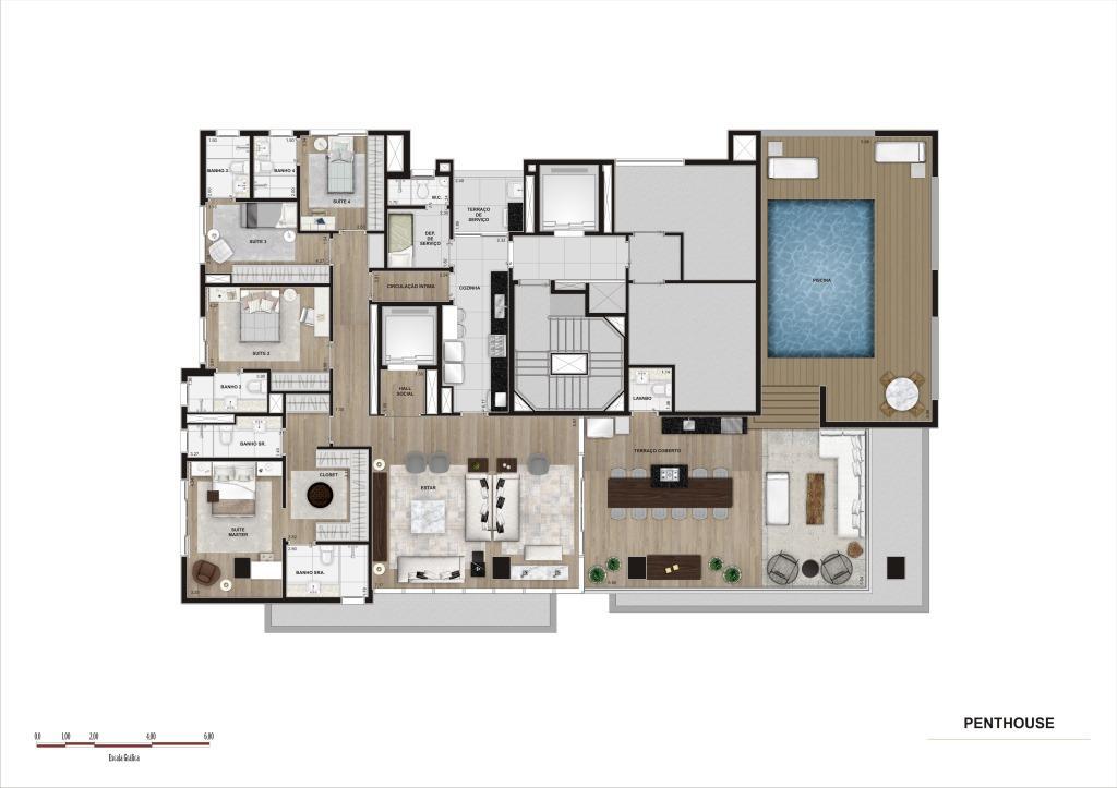 Planta  Penthouse - 315 m²