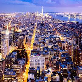 by Jan Kristiansen - City,  Street & Park  Skylines ( lights, empire state building, night, new york, cityscape )