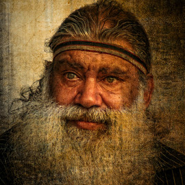 Emotion  by Kathryn Potempski - People Portraits of Men ( native, sadness, aboriginal, texture, beard, portrait, tears, emotion )