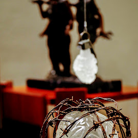 Boom by William Boyea - Artistic Objects Still Life ( glass art, guns, hand grenade, art, barbed wire, artistic object, brain, war, artwork )