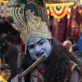 Body Art - Lord Krishnaa by Nazneen Siddique - People Body Art/Tattoos ( smiling krishna, krishna with smile, krishna, bansi wala, god as musician )