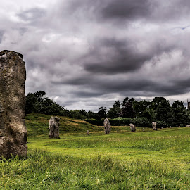by Steven Musgrove - Landscapes Prairies, Meadows & Fields ( site, archaeology, prehistoric, ruin, stone, tourism, circle, neolithic, avebury, heritage, attraction, landmark, circles, megalithic, england, ancient, henge, nature, summer, cloudy, monument )