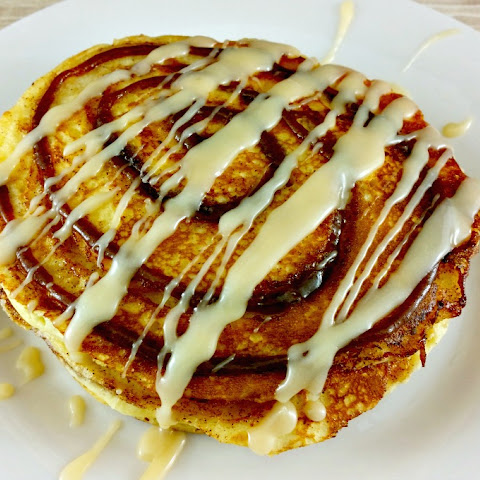 Cinnamon Roll Pancakes with Cream Cheese Icing