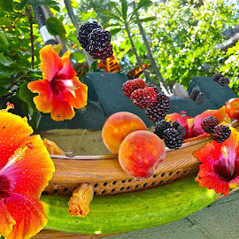 { Upside Down Fruit Salad |  by Jeffrey Lee - Food & Drink Fruits & Vegetables ( peachs, dew berrys, mull berry's, cucumbers,  )