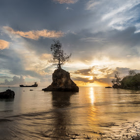 Apaca Point (Twenty Mintues Earlier) by Joshua T. Wood - Landscapes Sunsets & Sunrises ( santa rita, guam, sunset, apaca point )