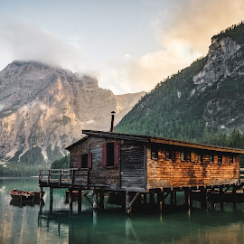 A lonely hut surrounded by acres and acres of mountains by Glen Parker - Buildings & Architecture Other Exteriors ( hut, beautiful, swiss alps, beauty, lonely )