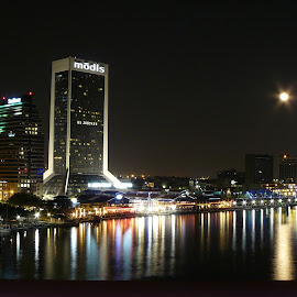 Jax Alight by Jonna Flynn - Novices Only Landscapes ( jacksonville, moon, skyline, florida, reflections, full moon, st johns, city, river,  )