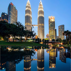 KLCC City Park in Night by Biman Sarkar - City,  Street & Park  City Parks ( klcc, reflection, night photography, klcc park, long exposure, night, malaysia, kl, kuala lumpur )