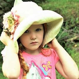 Hiding From Sun in Flower Hat by Cheryl Korotky - Babies & Children Child Portraits