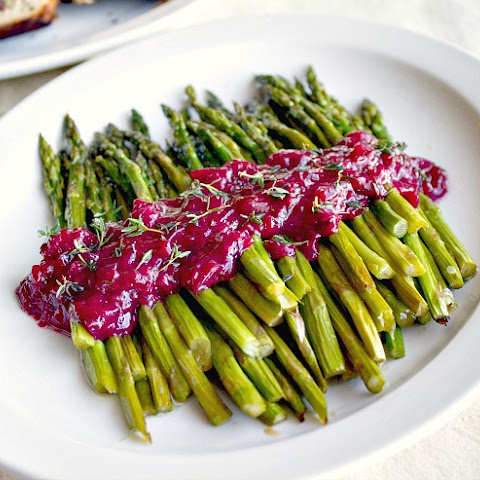 Roasted Asparagus With Blackberry White Wine Reduction