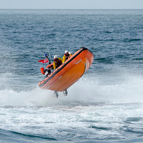 Lifeboat jump by Steven Stamford - Transportation Boats ( rescue boat, class lifeboat, sea spray, emergency service, pride of leicester, rnlb, rescue, lifeboat, sea, life boat, staithes lifeboat, atlantic, boat, sea rescue, rib, orange boat, b788, action, nautical,  )