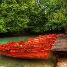 Boats by Boris Frković - Transportation Other ( orange, plitvice, park, green, lake, boat )