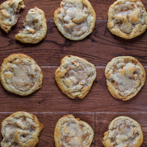 Rolo-Stuffed Pretzel Toffee Cookies