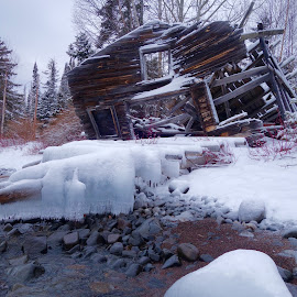 Old Hovland Fish House by Sandra Updyke - Buildings & Architecture Decaying & Abandoned ( fish house, ice, north shore, lake superior, hovland )