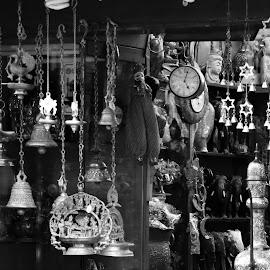 Antique shop by Sunil Abraham - Artistic Objects Antiques ( elephants, lamps, shop, clock, black and white, bells, antique )
