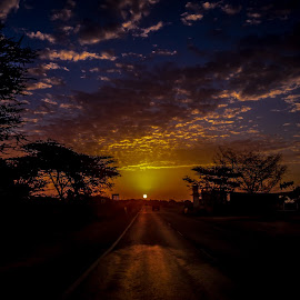 Rising from Yesterday by Akashneel Banerjee - Instagram & Mobile Android ( clouds, nature, road, sunrise, sun )