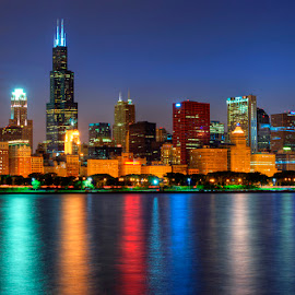 Chicago Skyline by Critter Rettirc - City,  Street & Park  Skylines ( lights, skyline, color, blue hour, reflections, night, chicago )