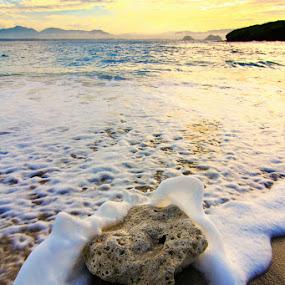 Stone by Kadetz Soewoko - Landscapes Sunsets & Sunrises ( jember, nature, indonesia, east java, stone, sea, travel, sunrise, beach, landscape )
