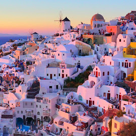 Sunset point oia by May May - Buildings & Architecture Public & Historical ( sunset, buildings, yellow, town, oia, landscape, santorini )