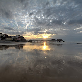 Cromer Sunset by Peter Jarvis - Landscapes Beaches ( clouds, cromer, sunset, norfolk, pier, beach )