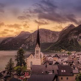 Hallstatt by Ole Steffensen - City,  Street & Park  Vistas ( salzburg, tourism, lake, town, hallstatt, austria, alps, hallstätter see )